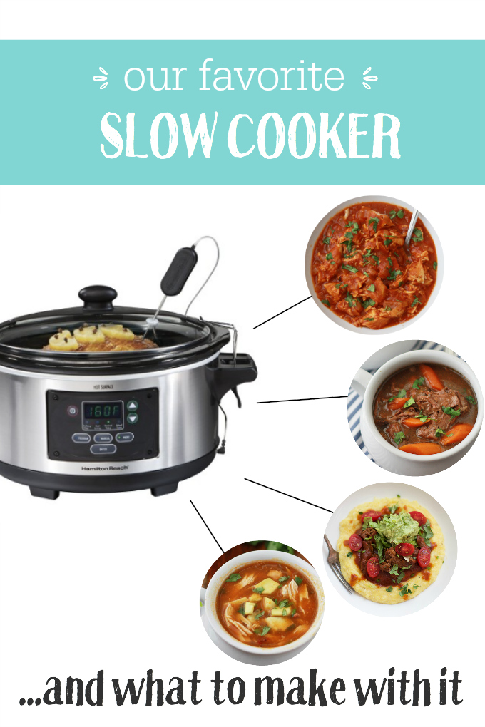 Our favorite slow cooker. We love the lid clips and the easily programmable settings. (PLUS recipes to make with it!)