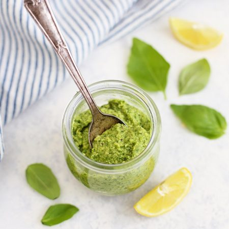 Simple Dairy Free Pesto - Vegan pesto has never tasted better. Gluten free and paleo, this even comes with a nut free option! Best homemade pesto I've ever tried! (+10 Ways to Use it!)