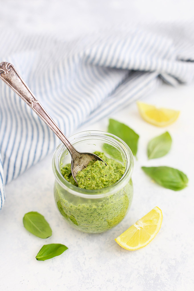 Simple Dairy Free Pesto - This vegan pesto is the BEST ever! No weird ingredients and it tastes delicious! Gluten free & Paleo too!