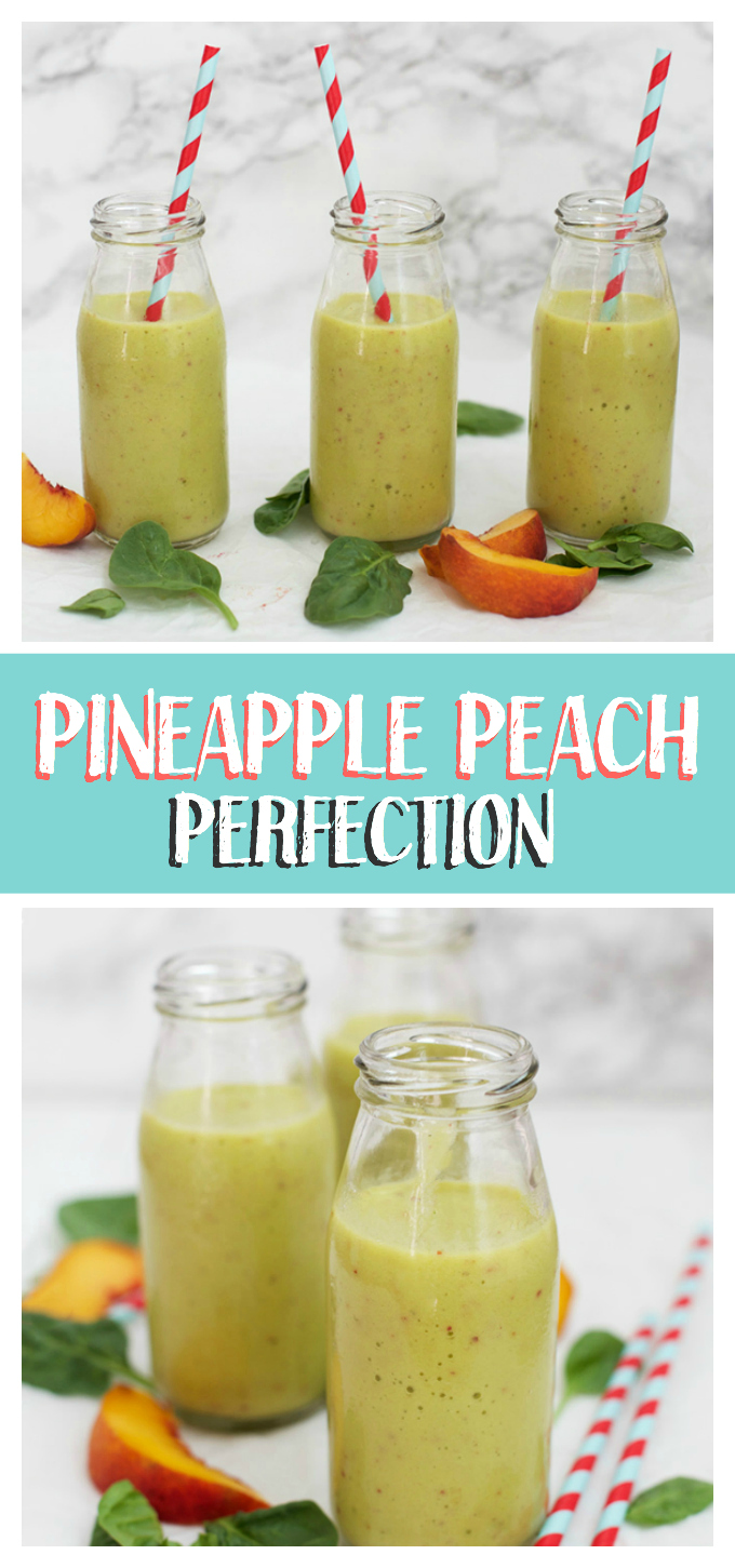 These Peach Pineapple Perfection smoothies are such a fresh way to boost your day! They make the perfect healthy breakfast or snack.