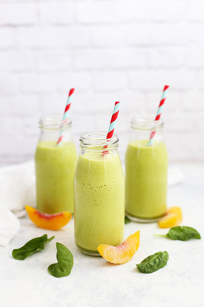 Pineapple Peach Perfection Smoothie - This kid-friendly green smoothie is one of our favorites! (paleo or vegan)
