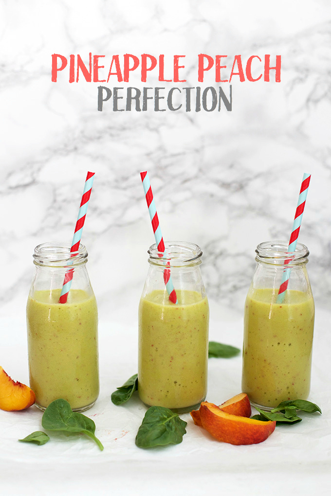 Peach Pineapple Perfection - This pineapple peach smoothie strikes the perfect balance between sweet and tart. It's a perfect after-school snack or healthy breakfast!