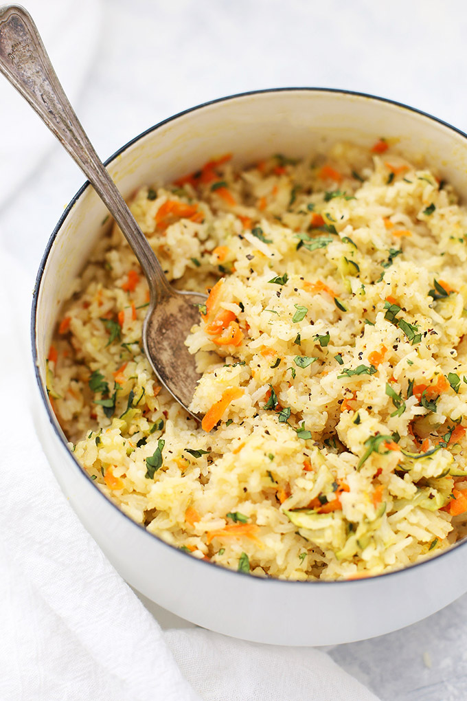 Simple Veggie Rice Pilaf - An easy side dish, this vegetable rice pilaf is easy enough for a weeknight, and nice enough for a holiday or big dinner!