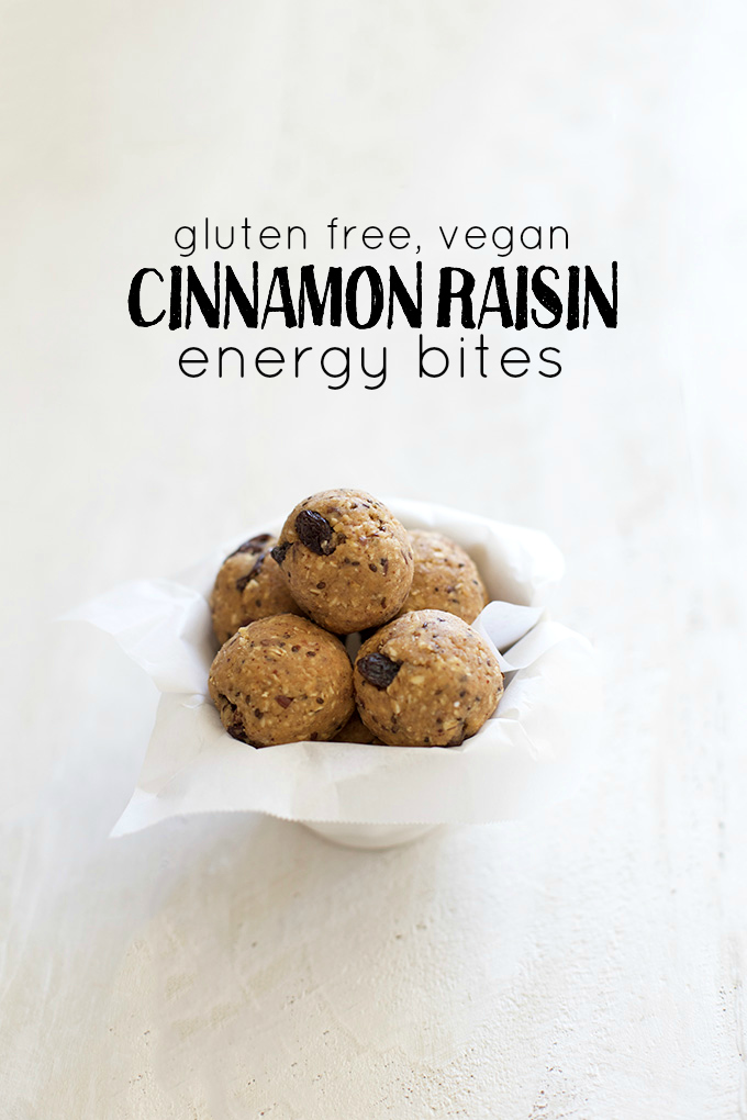 Gluten free, vegan Cinnamon Raisin Energy Bites - Protein, nutrients, and fabulous!