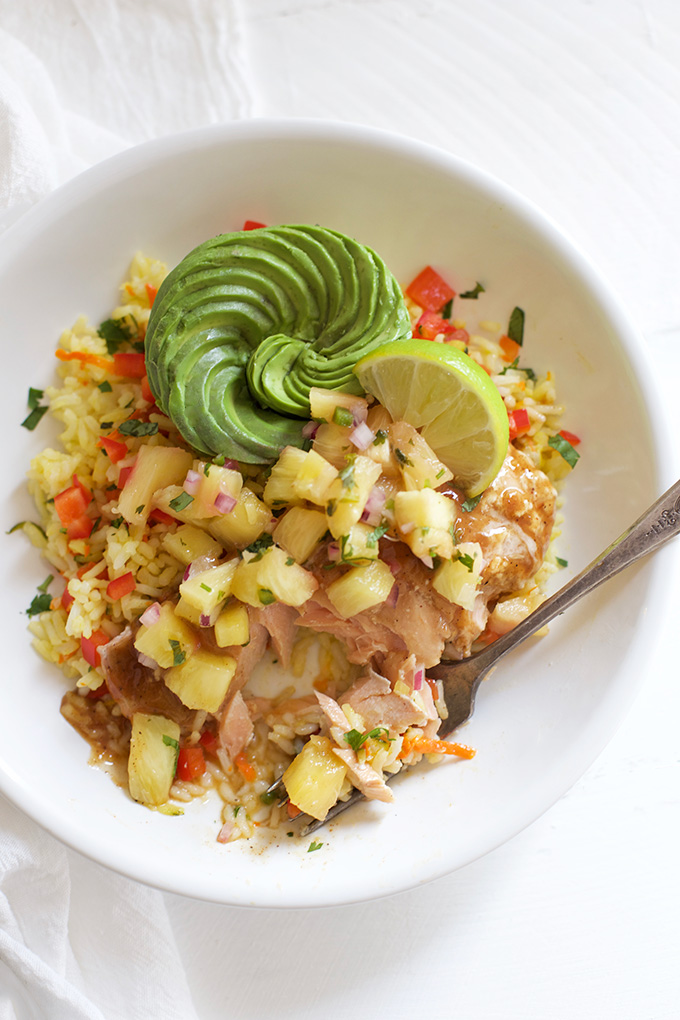 Jamaican Jerk Salmon Bowls with Pineapple Salsa - Fresh, flavorful, and SO GOOD!