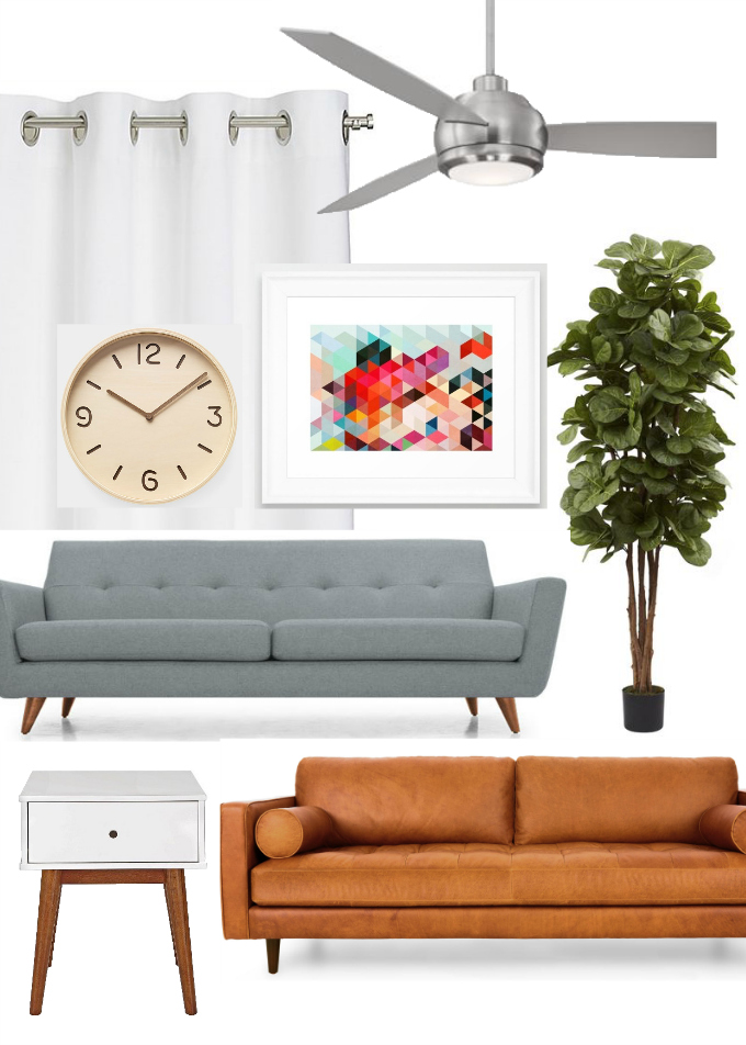 Living Room Mood Board - We love clean lines, a combination of neutrals and pops of color, and a sleek modern fan!