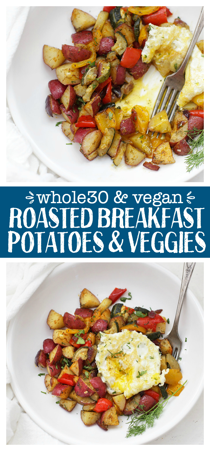 Roasted Breakfast Potatoes and Veggies - This lovely side dish tastes like the skillet potatoes you could order at a diner without any of the work involved! A perfect meal prep recipe.
