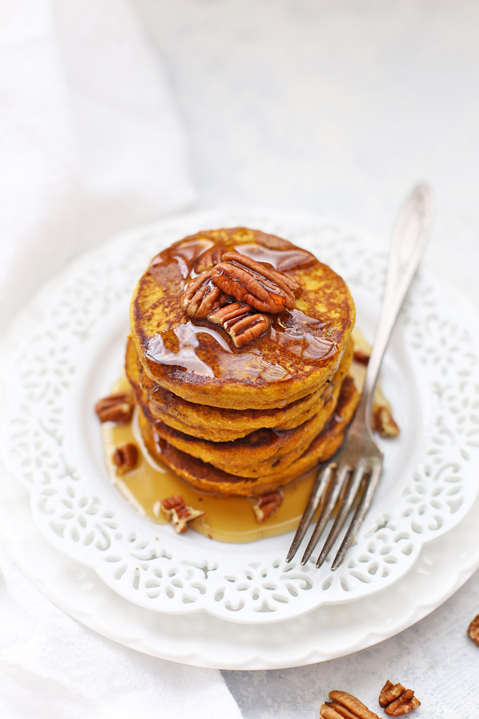 Blender Pumpkin Pancakes from One Lovely Life