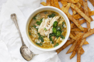 Salsa Verde Chicken and Rice Soup