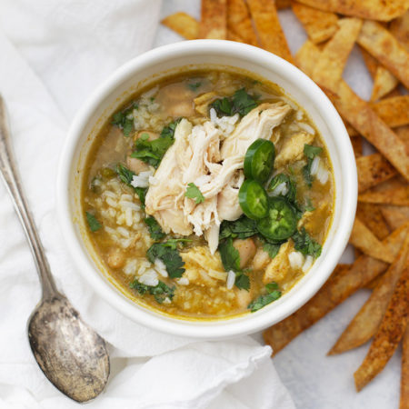 Warming, comforting chicken and rice soup with a salsa verde twist! This is the perfect thing to eat on a cold day or when you're feeling under the weather.