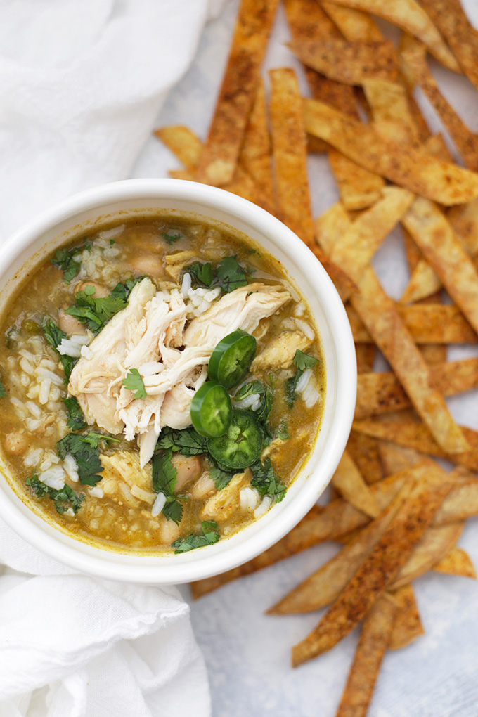 Salsa Verde Chicken and Rice Soup - It's kind of like a green chicken chili, but better!