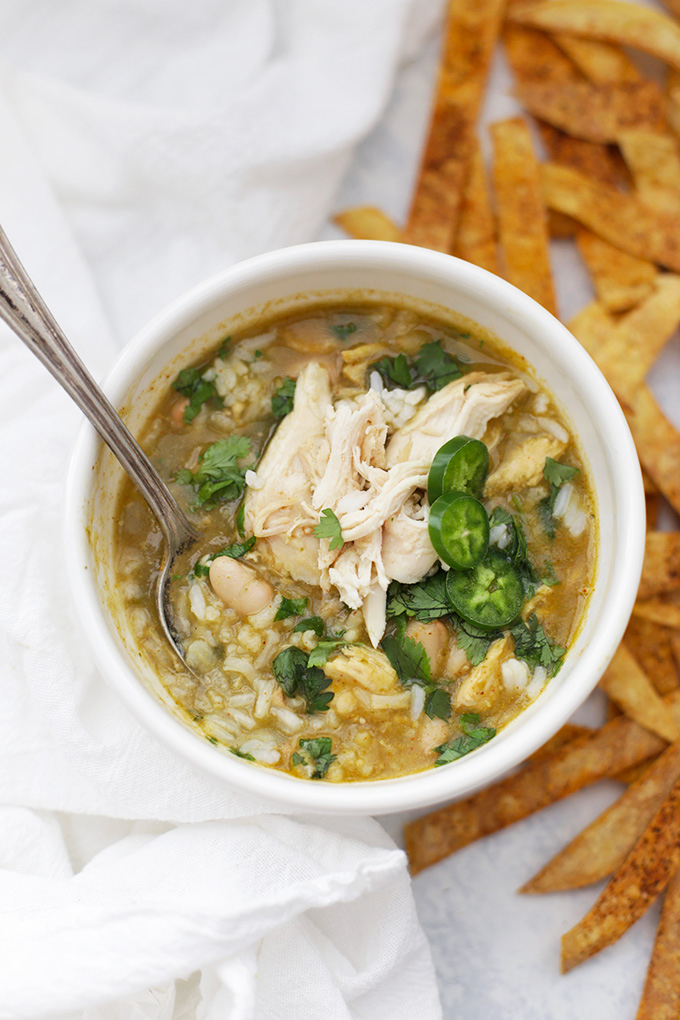 I'll have seconds of this Salsa Verde Chicken and Rice Soup! It's like a cross between green chicken chili and chicken and rice soup. So good!