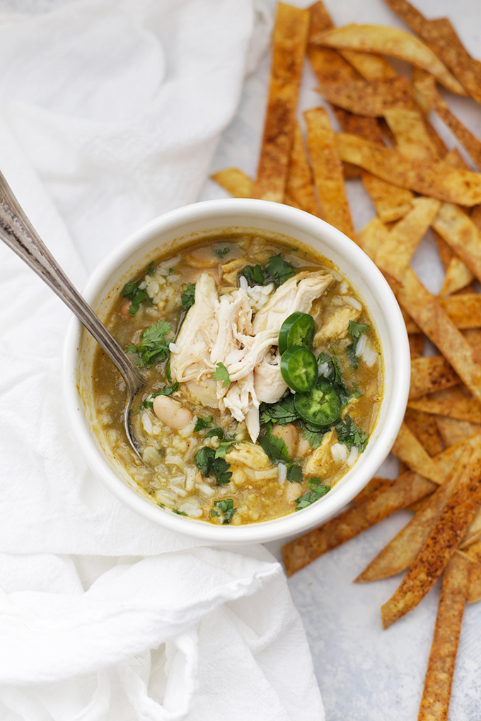 This Chicken and Rice Soup has a salsa verde twist. It's so good you'll all be scooping up seconds!
