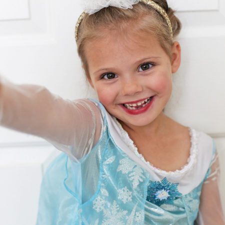 Elsa was SO excited about makeup this year.