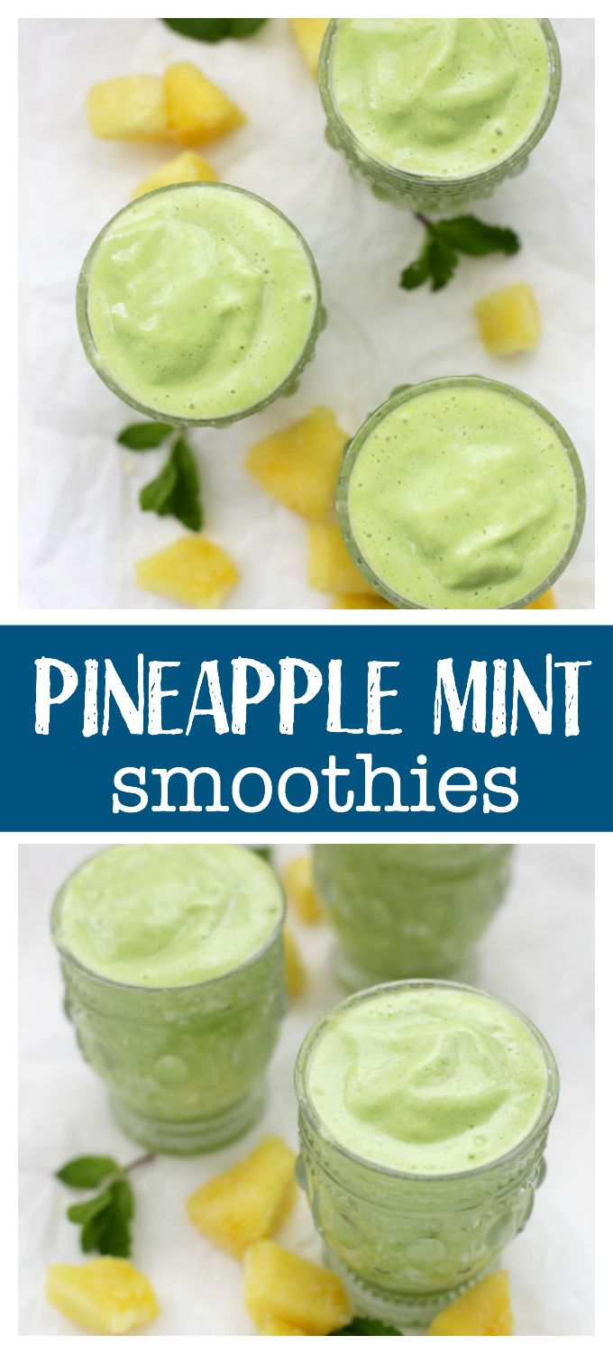 Pineapple Mint Smoothie - Bright, fresh, and (thanks to the protein boost), they're a beautiful, well-balanced breakfast or snack!