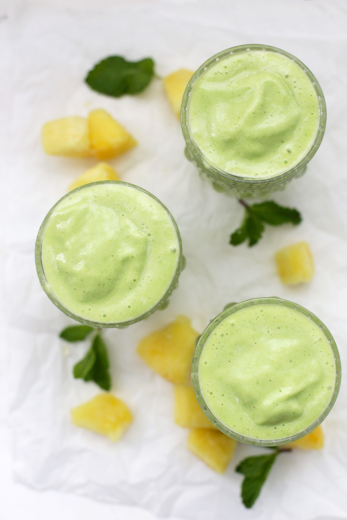 We love these Pineapple Mint Smoothies! So much goodness and flavor!