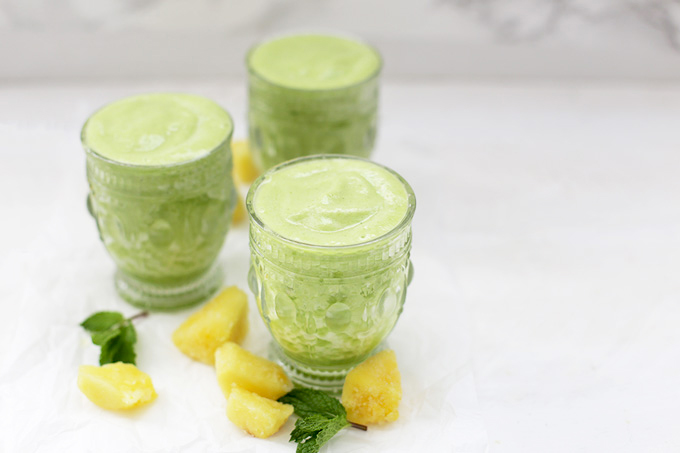 These Pineapple Smoothies are so bright and fresh thanks to the mint.