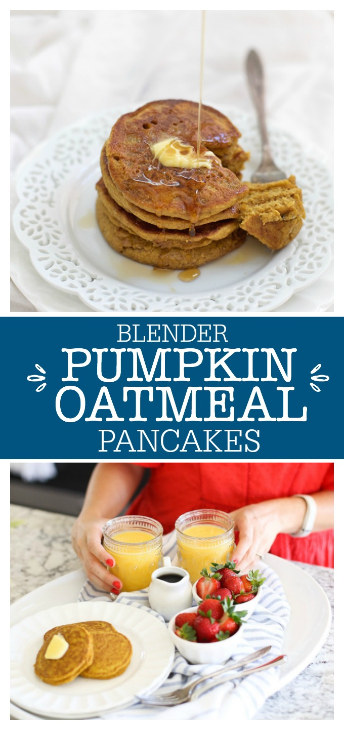Blender Pumpkin Oatmeal Pancakes - These couldn't be easier! Toss everything in the blender and you've got a cozy breakfast ready in no time. They feel like the weekend, but are simple enough for a weekday.