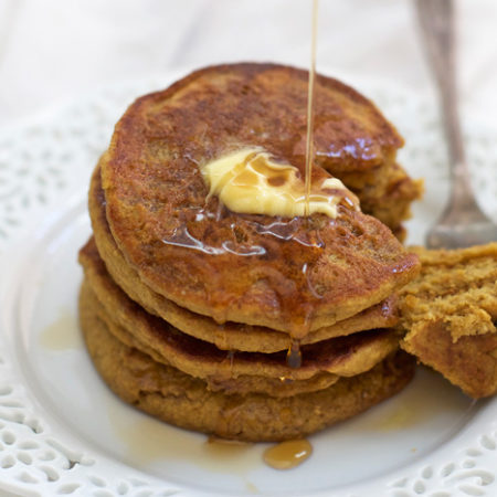 Blender Pumpkin Pancakes made from whole, healthy ingredients. You're family will love these!
