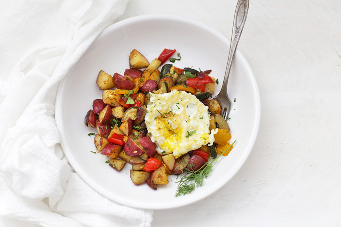 Gorgeous roasted potatoes and veggies. Perfect for an easy side dish with dinner or an amazing breakfast. Also great for meal planning!
