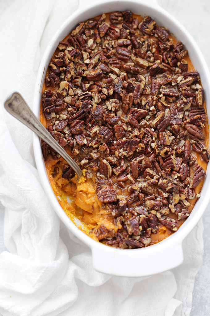 This paleo sweet potato casserole is the real deal. The naturally sweetened, gorgeous pecan topping is amazing!