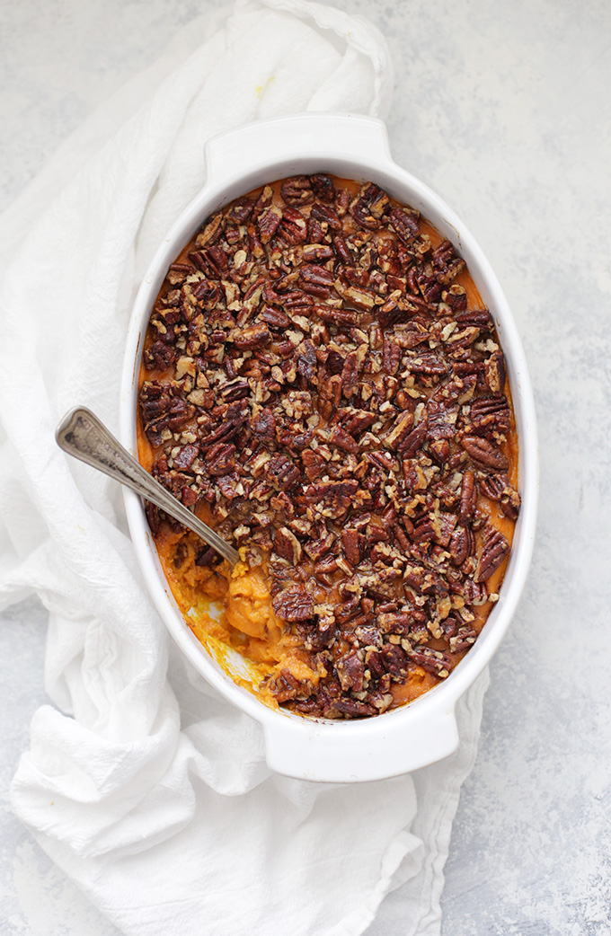 Vegan Sweet Potato Casserole. This one is everything I hoped it would be. Velvety sweet potatoes with a pecan topping. All naturally sweetened! (gluten free, vegan, and paleo friendly!)