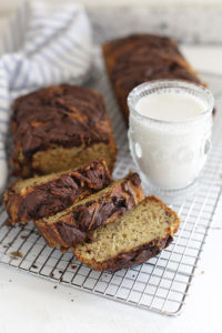 Gluten Free Banana Bread with Chocolate Cinnamon Swirl