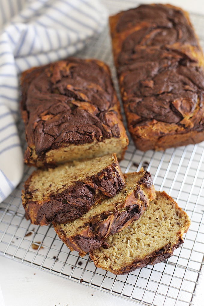 Chocolate Swirl Banana Bread - Good luck stopping after just one slice! This gluten free banana bread is the best we've tried!