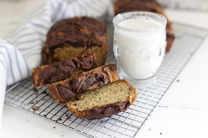 This is the BEST gluten free banana bread. Light, fluffy, and the chocolate swirl is amazing!