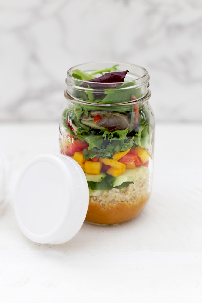 Love this salad in a jar. Spring Roll Quinoa Salad with Peanut Sauce. This is such a good one! (Gluten free & Vegan)