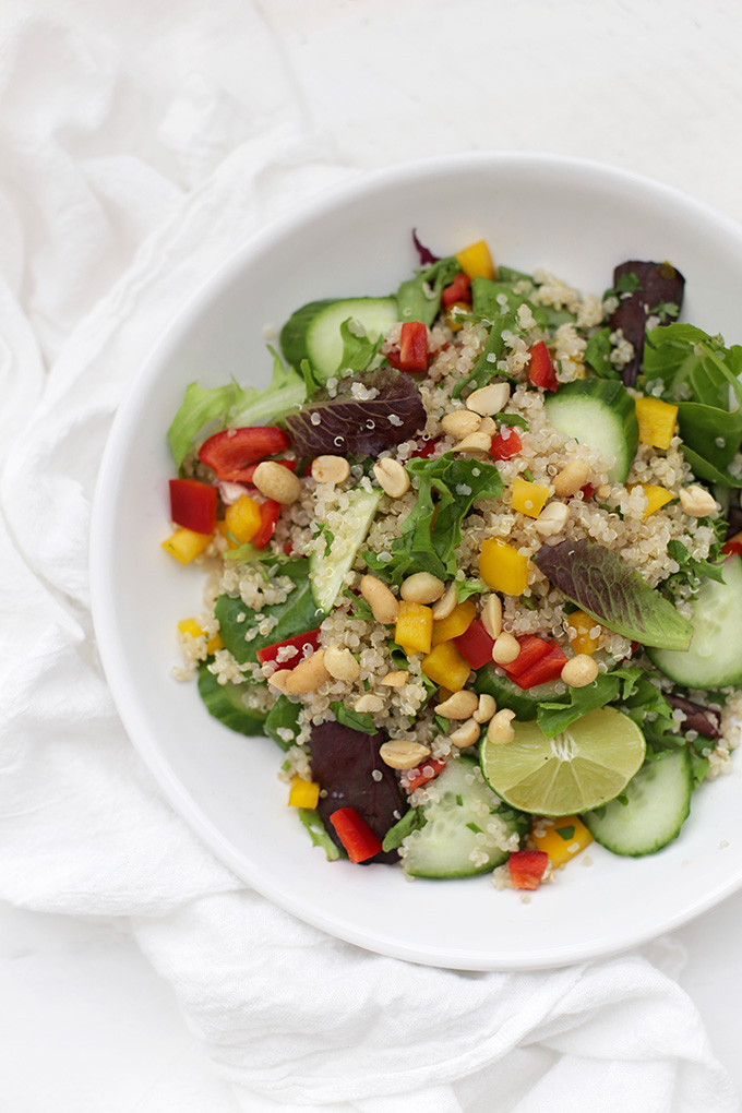 This quinoa salad is such a great mix of fresh flavors. Spring Roll Quinoa Salad with Peanut Sauce. Yum!