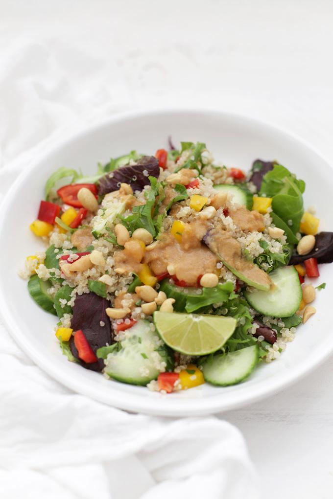 This quinoa salad is delicious. The peanut sauce MAKES this dish.