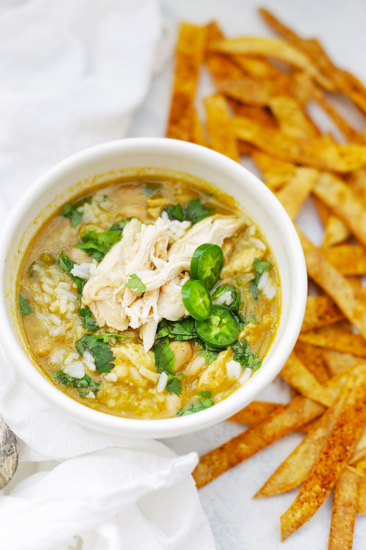 Salsa Verde Chicken & Rice Soup from One Lovely Life