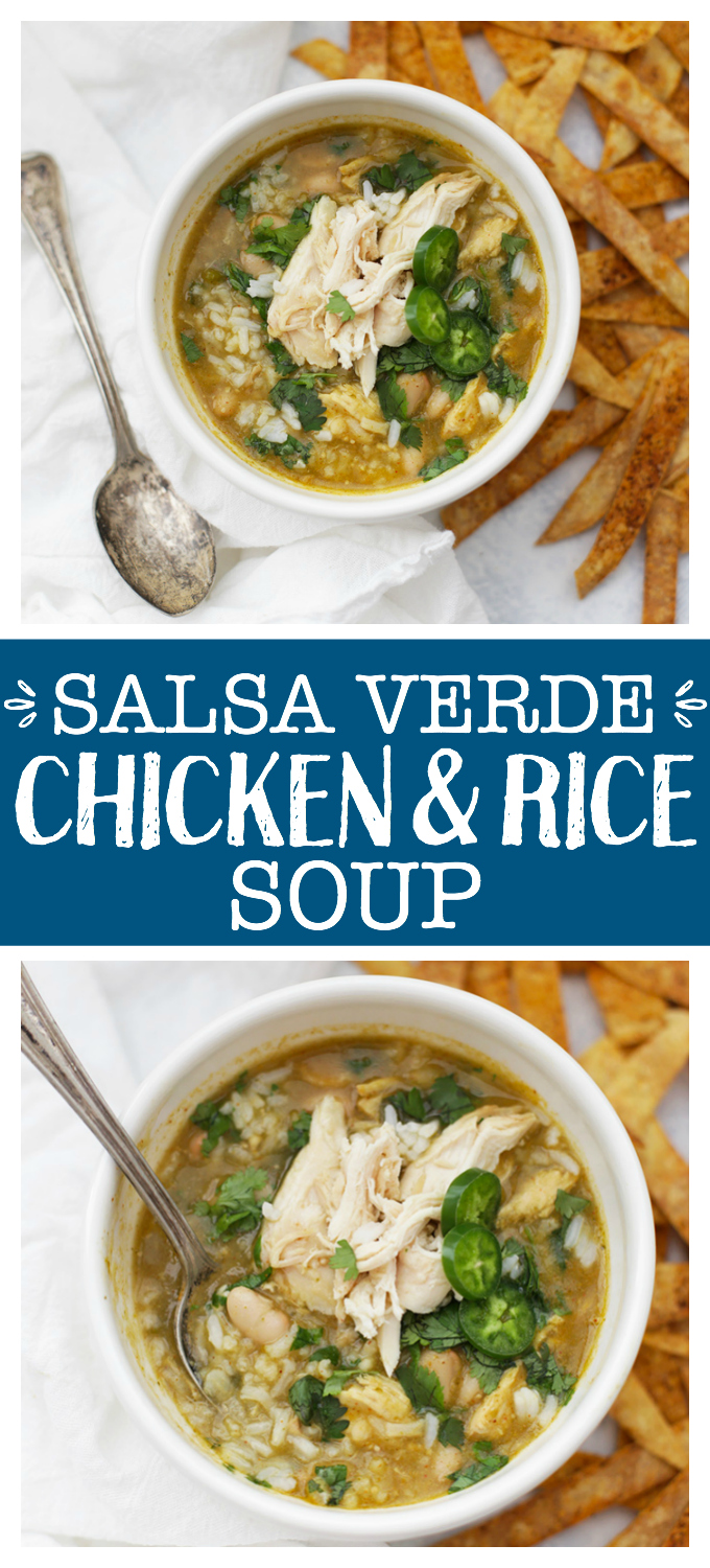 Salsa Verde Chicken and Rice Soup - Warming, comforting chicken and rice soup with a salsa verde twist! This is the perfect meal for cold days or when you're feeling under the weather.