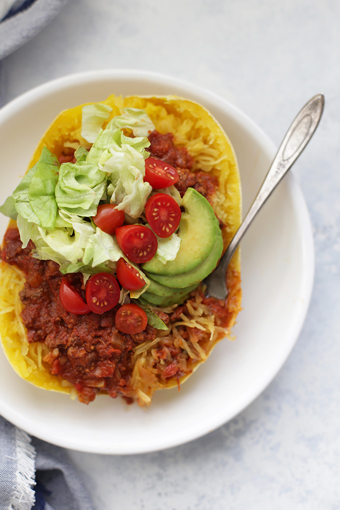 A simple, delicious low-carb dinner - Chili Stuffed Squash!