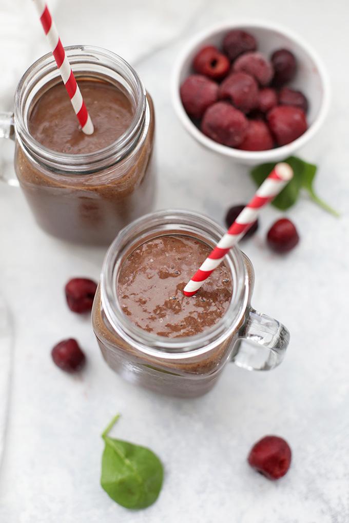 Paleo Chocolate Cherry Smoothies. These taste like a milkshake! So delicious.