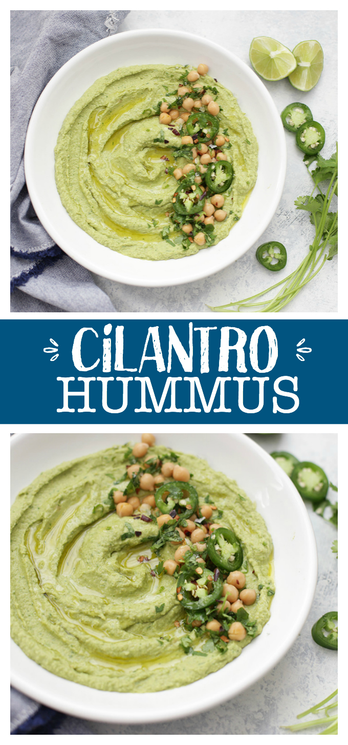 Cilantro Hummus - This bright, flavorful hummus packs a big flavor punch thanks to plenty of fresh cilantro and a little bit of smoky heat from jalapeño. It's sure to become a favorite!
