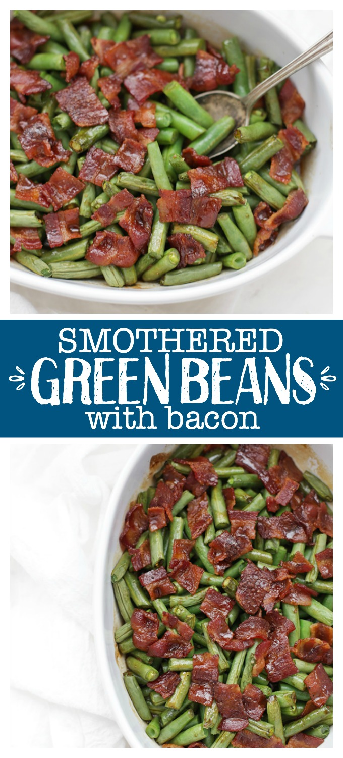 Smothered Green Beans with Bacon - Roasted green beans with a savory-sweet sauce and crispy bacon. It doesn't get much better than this. Perfect for a holiday meal and easy enough for a weeknight.