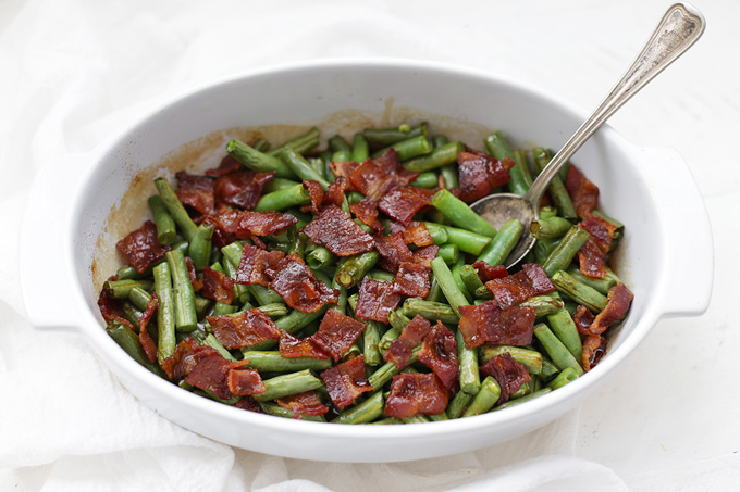 Smothered Green Beans with Bacon - the perfect smoky, salty, sweet alternative for green bean casserole!