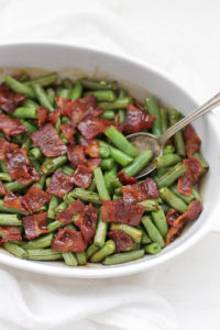 I could eat these smothered green beans with bacon almost every day. I love the sauce and the flavors!