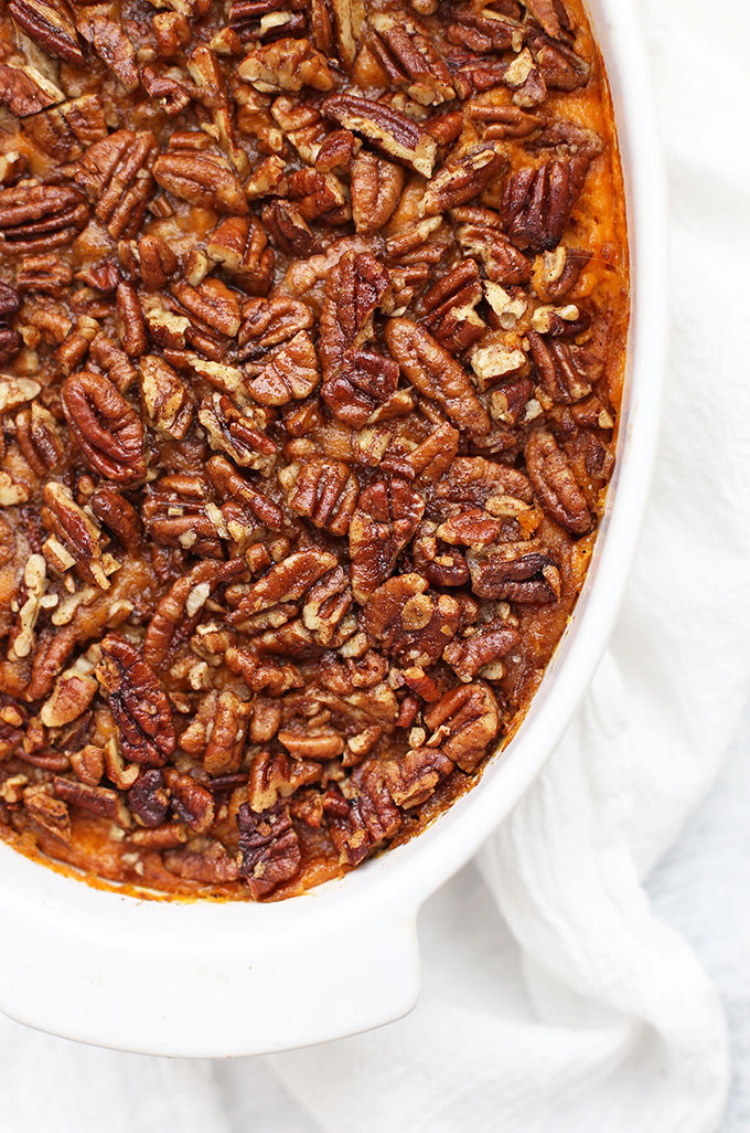 Close up overhead view of paleo sweet potato casserole with pecan topping.