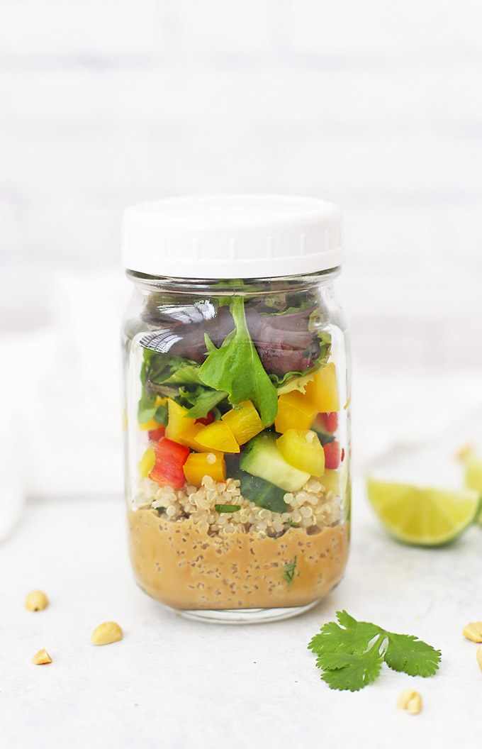 Spring Roll Quinoa Salad - Mason jar salads make such great meal prep lunches! This one is vegan, gluten free, and SO delicious!