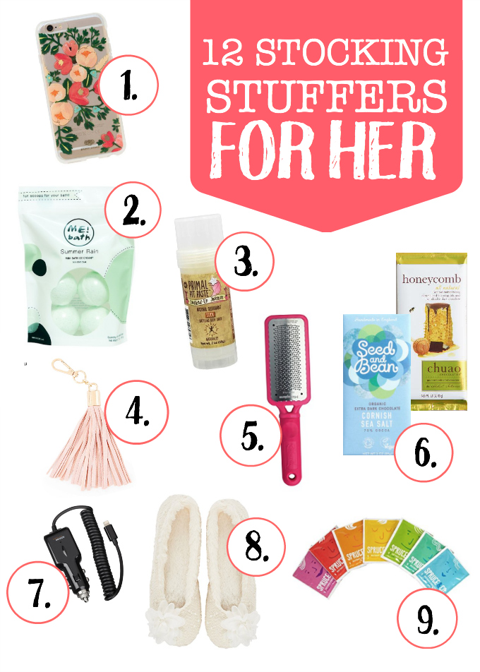 12 Stocking Stuffer Ideas for Her - from personal care, to indulgences, practical items, and tech! This one has it all.