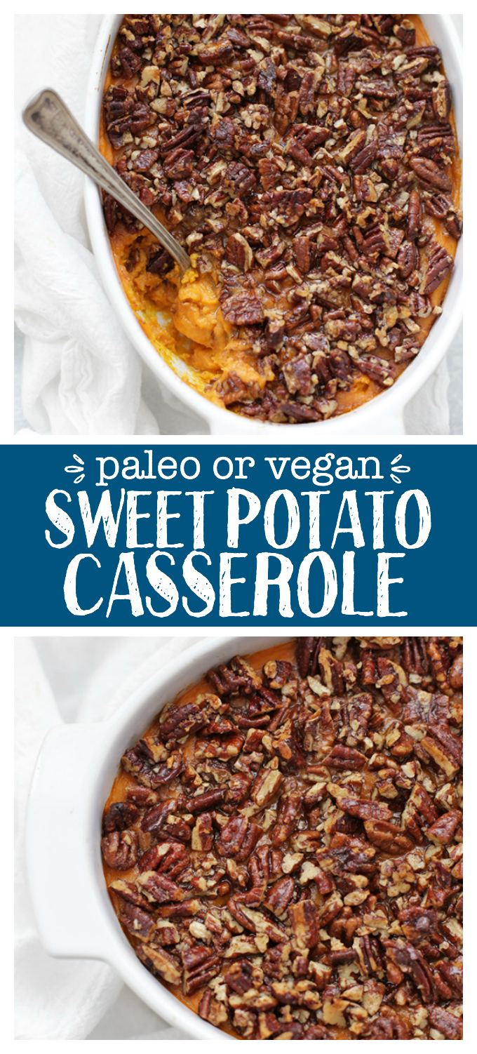 Paleo (or Vegan!) Sweet Potato Casserole. You never need to miss out during the holidays because of dietary restrictions. This naturally sweetened, gluten free, dairy free sweet potato casserole is the real deal!