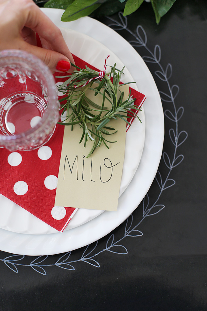 Add a little rosemary wreath to your Christmas table settings. It's fresh and smells amazing!