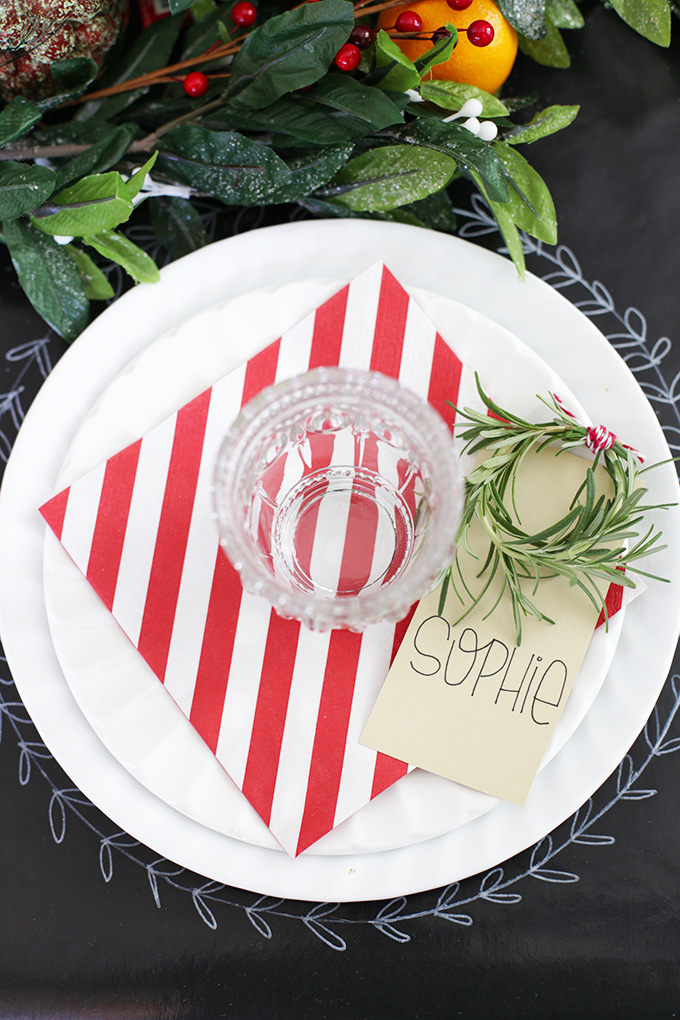 Simple, festive Christmas table settings. Love these!