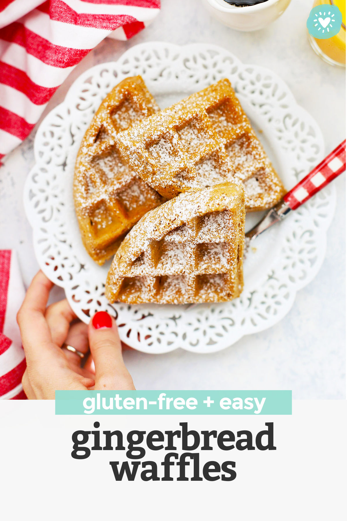 Gluten Free Gingerbread Waffles - crispy exterior, fluffy interior, and perfectly spiced. The perfect holiday breakfast! (Gluten free, dairy free)// gluten free Holiday breakfast // gluten free Christmas breakfast // gluten free waffles recipe // #waffles #gingebread #glutenfree #brunch #breakfast