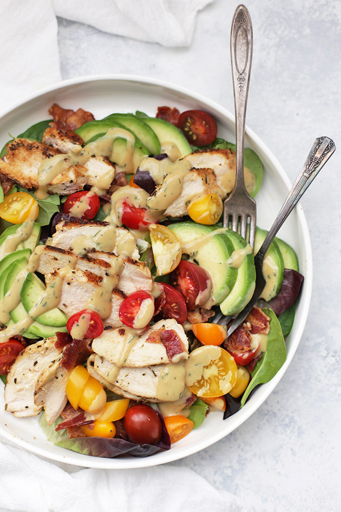Rosemary Chicken BLT Salad with TWO salad dressing options. We LOVE this dinner!