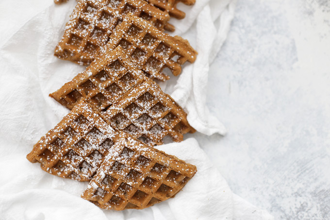 Close up overhead view of gluten free gingerbread waffles sprinkled with powdered sugar