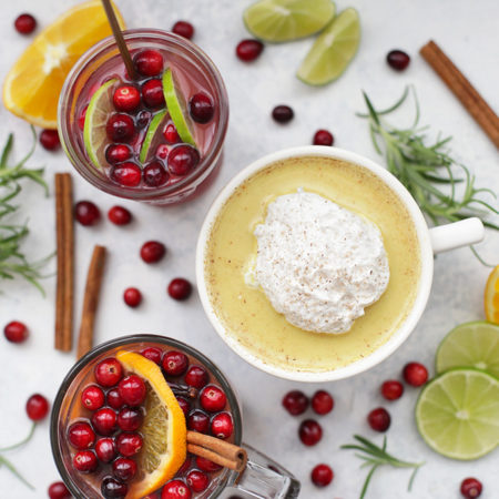 3 Healthy Holiday Drinks! Each one has a secret superfood boost. Check out this Cranberry Lime Spritzer, Golden Milk Nog, and Superfood Christmas Wassail!
